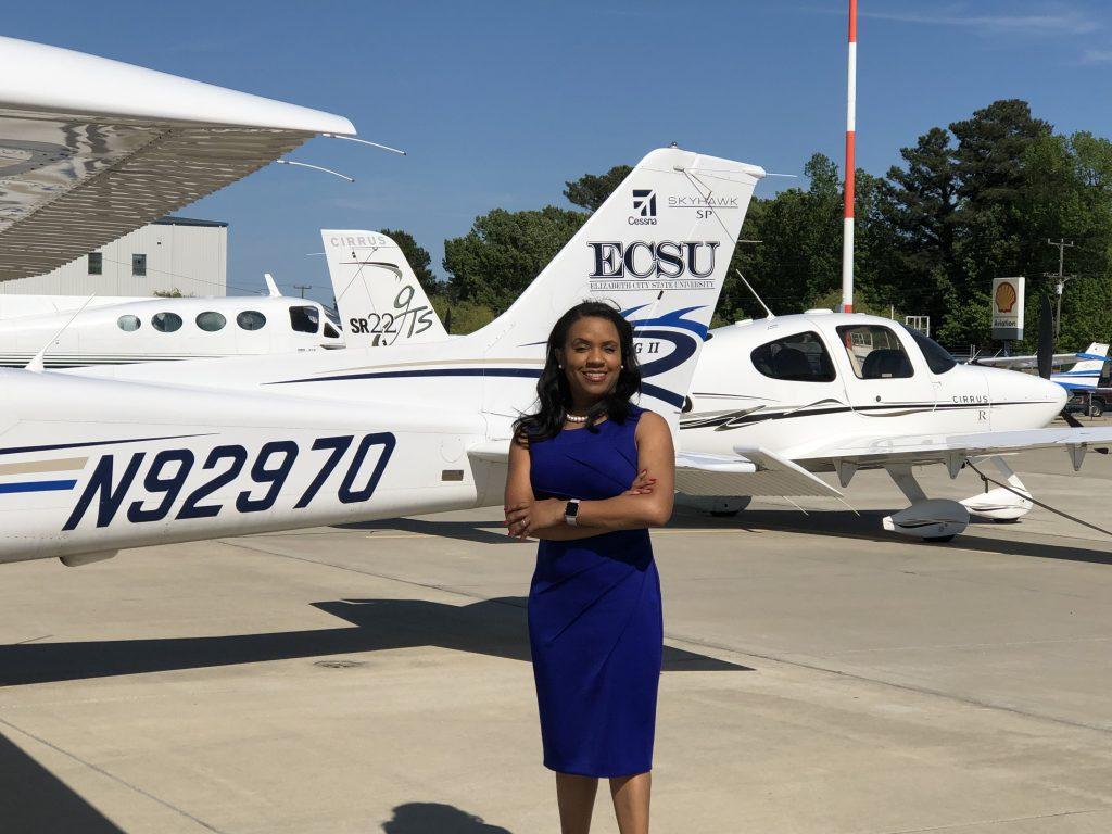 Chancellor Dixon with ECSU plane