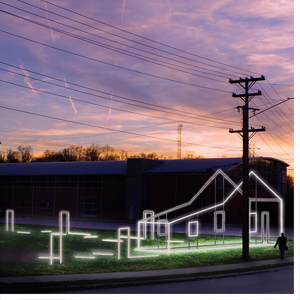 """An artist's rendering of """"Lines,"""" the 11th annual Winston-Salem Light Project."""