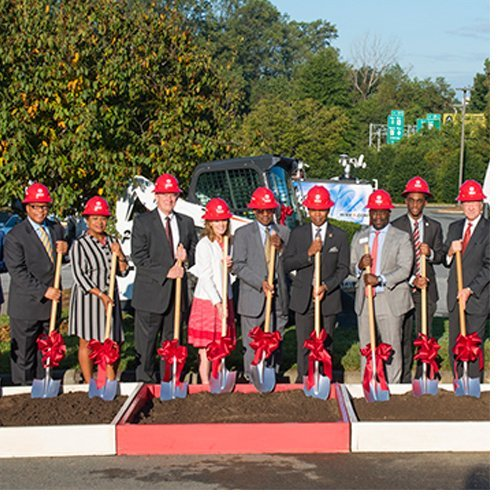 WSSU's Board of Trustees and administrators, joined by city and state elected officials, break ground on the new sciences building.