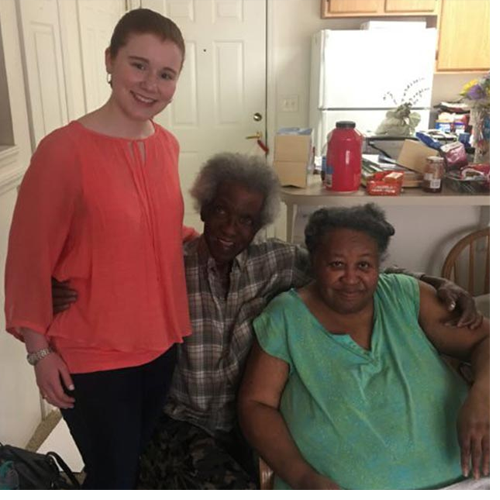 UNCSA Music student Grace Pfleger with community members she regularly visits through Meals-on-Wheels.