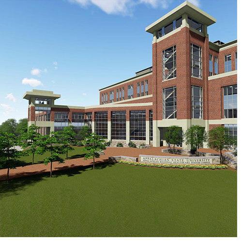 An architect's rendering of the Appalachian Beaver College of Health Sciences building.