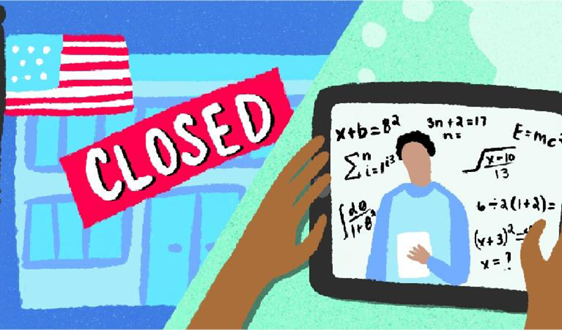 """An illustration of two hands holding a tablet with math lessons on the screen. In the background there is a school with a """"closed"""" sign in front."""