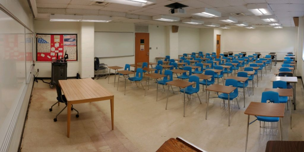 Crowded classroom before COVID reconfiguration