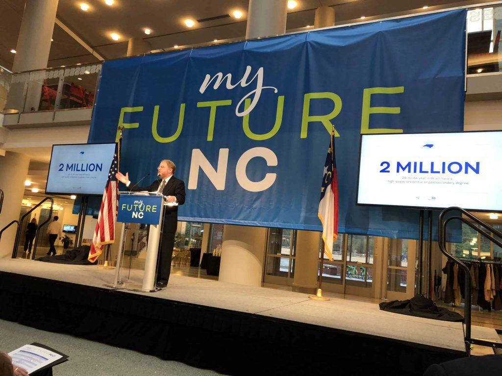 President Peter Hans on stage at myFutureNC event.