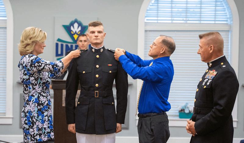 Soldier receiving medals